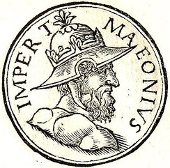 Bearded relative of Odaenathus, wearing a metal hat. drawing from the sixteenth century