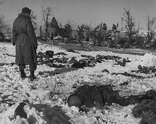 Aftermath of the Malmedy massacre in 1944, when Nazi soldiers massacred American prisoners of war.