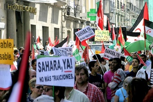 A demonstration in Madrid for the independence of Western Sahara.