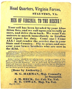 "An 1861 Confederate recruiting poster from Virginia, urging men to join the Confederate cause and fight off the U.S. Army, which it refers to as a ""brutal and desperate foe""."
