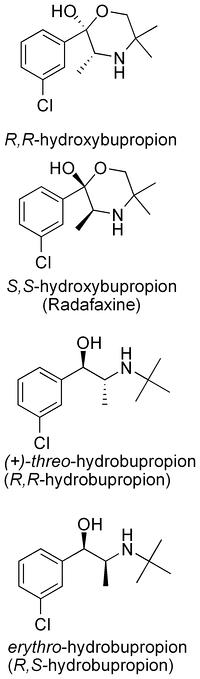 Главные метаболиты бупропиона.
