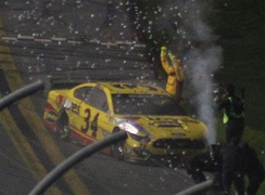 McDowell celebrating after winning the 2021 Daytona 500