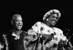 Makeba and Dizzy Gillespie on a stage