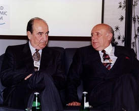 Konstantinos Mitsotakis and Süleyman Demirel (Prime Ministers of Greece and Turkey respectively) in the 1992 World Economic Forum