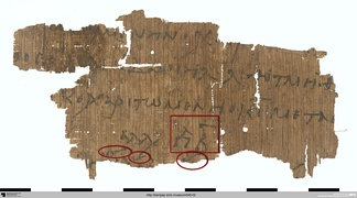 "Papyrus fragment of a 6th-century tropologion found in Egypt, marked in red are the modal signature and some early ekphonetic signs of the following theotokion (""another one"") which is composed in a melos of echos plagios devteros (D-Bk P. 21319)"