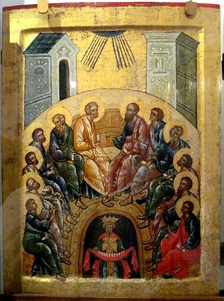 Russian Orthodox depiction of Pentecost, c. 1497.