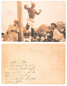 The front and back of a postcard showing the charred corpse of Will Stanley in Temple, Texas, in 1915.[52][53][54][55]