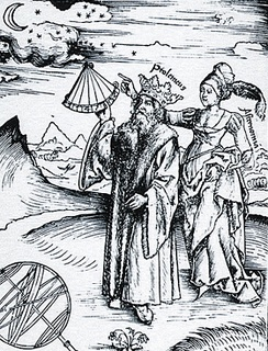 Engraving of a crowned Ptolemy being guided by the muse of Astronomy, Urania, from Margarita Philosophica by Gregor Reisch, 1508. Although Abu Ma'shar believed Ptolemy to be one of the Ptolemies who ruled Egypt after the conquest of Alexander the title 'King Ptolemy' is generally viewed as a mark of respect for Ptolemy's elevated standing in science.