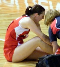 Rachel Dunn from Australia with an ankle injury, Adelaide, October 2008