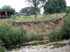 Robinson Creek in Boonville, California had highly eroded stream banks prior to initiation of a stream restoration project.