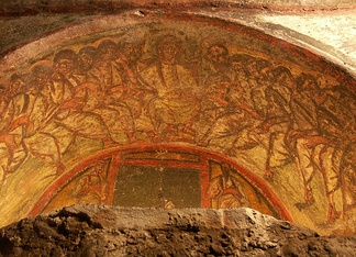 Jesus and his twelve apostles, fresco with the Chi-Rho symbol ☧, Catacombs of Domitilla, Rome.
