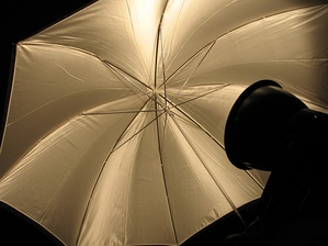 A traditional umbrella-style reflector, used to diffuse light from a photographic lamp to which it is normally attached.