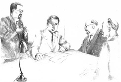 Artist's impression of a meeting of the PCF (Parti communiste français) central committee at Longjumeau, 1943. Left to right: Benoît Frachon, Auguste Lecoeur, Jacques Duclos and Charles Tillon.