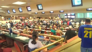 Inside view of one of the rooms at Surfside Raceplace satellite wagering facility and sports bar of the Del Mar Fairgrounds.