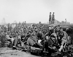 American Civil War: Union Army soldiers of 6th Corps, Army of the Potomac, in trenches before storming Marye's Heights at the Second Battle of Fredericksburg during the Chancellorsville campaign, Virginia, May 1863 (#B-157).[note 3]