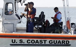 United States Coast Guard sailors in 2010 patrolling the Falcon Lake reservoir of the Rio Grande border crossing for river pirates and Mexican cartel drug smugglers in the ongoing conflict known as the Mexican Drug War