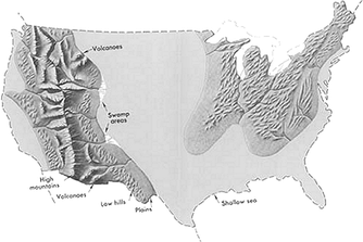 Geography of the Contiguous United States in the late Cretaceous period