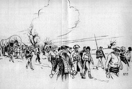 A 20th-century illustration depicting United States Marines escorting French prisoners