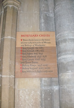 Panel with list of mortuary chests and their contents in Winchester Cathedral.