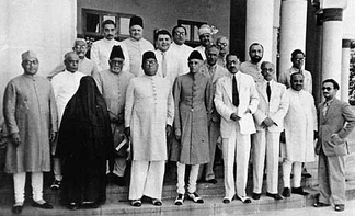 The Muslim League Governing Council at the Lahore session. The woman wearing the black cloak is Muhatarma Amjadi Banu Begum, the wife of Maulana Mohammad Ali Jauhar, a prominent Muslim League leader. Begum was a leading representative of the UP's Muslim women during the years of the Pakistan Movement.[11][12]