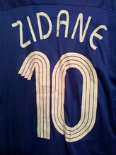 France's Zinedine Zidane number 10 home shirt, as made by Adidas.