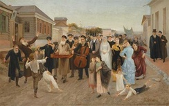 1893 painting of a marriage procession in a Russian shtetl by Isaak Asknaziy