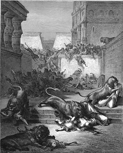 Foreigners eaten by lions in Samaria, illustration by Gustave Doré from the 1866 La Sainte Bible, The Holy Bible