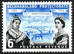 1960 stamp of Bechuanaland Protectorate with the portraits of Queen Victoria and Queen Elizabeth II