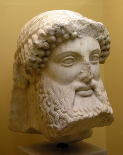 Archaic bearded Hermes from a herm, early 5th century BC.