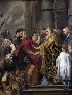 Saint Ambrose barring Theodosius from Milan Cathedral by Anthony van Dyck. National Gallery, London.