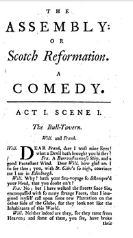 The first page of The Assembly by Archibald Pitcairne from the 1766 edition