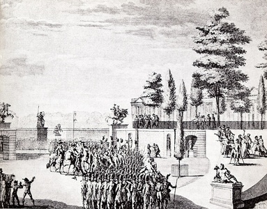 Republican coup d'état of September 4, 1797. Arrest of General Pichegru and other royalist leaders of the legislature by the army at the Tuileries Palace.