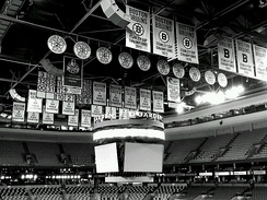 Banners of the Bruins' retired numbers hang at the Garden.