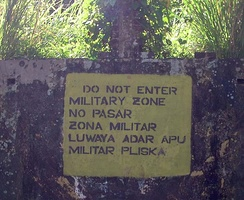 A sign in Bluefields in English (top), Spanish (middle) and Miskito (bottom)