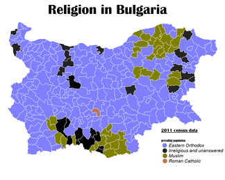 Geographic distribution of religions in Bulgaria, 2011 census.