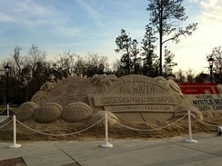 A sand sculpture during the 2015 Big South Conference Men's Basketball Tournament held at Coastal Carolina University