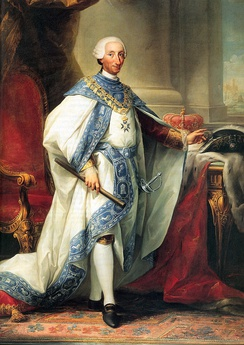 King Charles III in the robes of the order, the first design used until 1789.