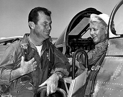 Jackie Cochran in the cockpit of the Canadair Sabre with Chuck Yeager