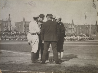 During the 1905 World Series, O'Day (back left) confers with plate umpire Jack Sheridan, New York manager John McGraw (right) and two Philadelphia players.