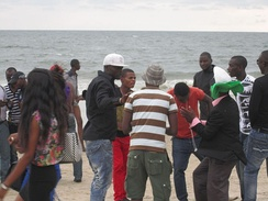 Crowd on beach in Gabon