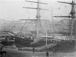 Cutty Sark moored in Melbourne. Another clipper can be seen in the background