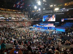 View of the stage at the Wells Fargo Center, during the 2016 Democratic National Convention.