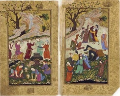Dancing dervishes on a double-page composition from an illustrated manuscript of the Golestan Iran, ca. 1615