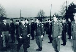 General William J. Donovan reviews Operational Group members in Bethesda, Maryland prior to their departure for China in 1945.