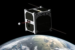 1U CubeSat ESTCube-1, developed mainly by the students from the University of Tartu, carries out a tether deployment experiment in low Earth orbit.