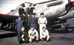 The final flight crew and maintenance support personnel of F-82 46-415, May 1953.