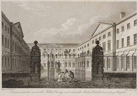 1820 engraving of Guy's campus entrance by James Elmes and William Woolnoth