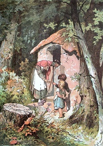 Hansel and Gretel meeting the witch, by Alexander Zick.