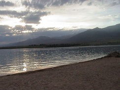 Issyk-Kul at sundown (August 2002)