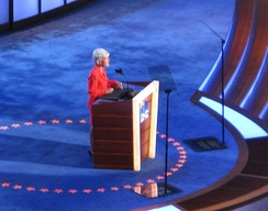 Sebelius speaks during the second day of the 2008 Democratic National Convention in Denver, Colorado